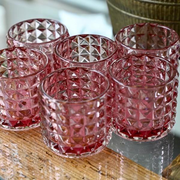Teelichtglas, rosa-rot