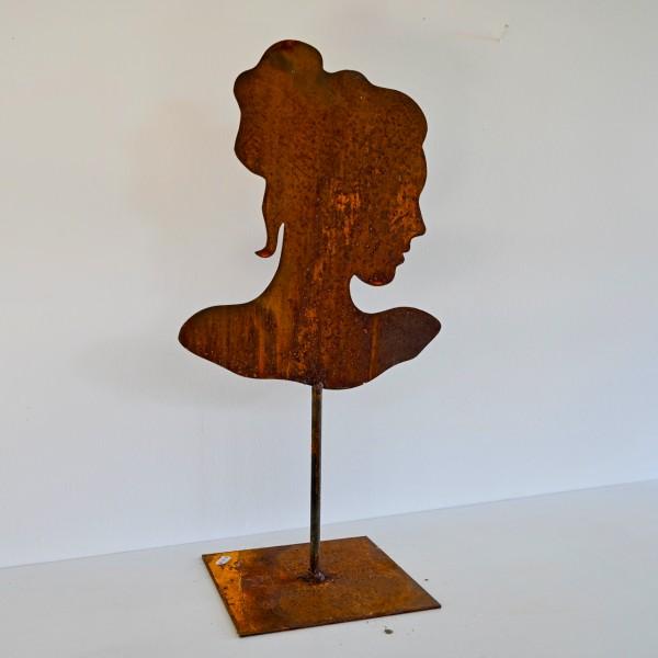 Edelrost Frauen-Silhouette im Profil auf Ständer