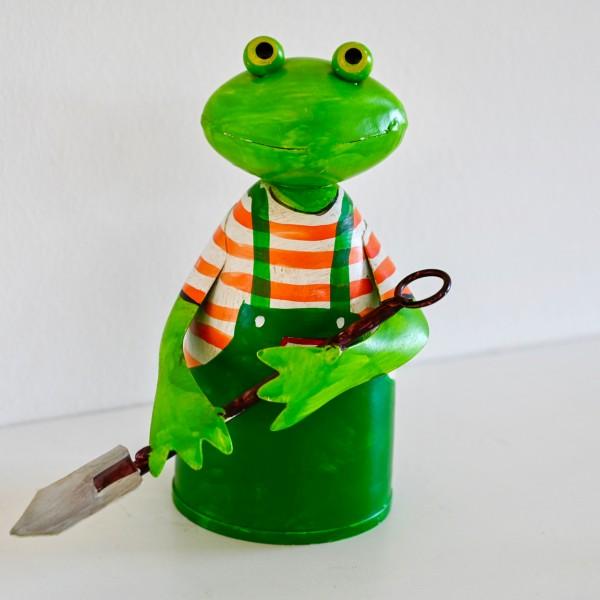 Metall-Deko Frosch mit Schaufel
